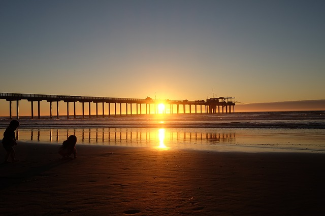 San Diego beach, sea coast