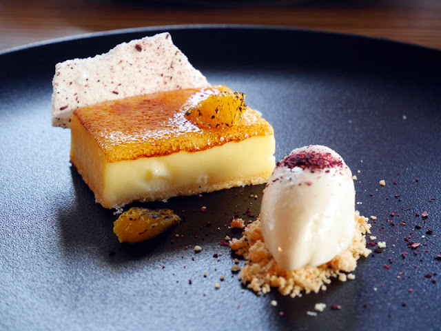 Lemon tart and burnt orange ice cream by Etch restaurant Brighton