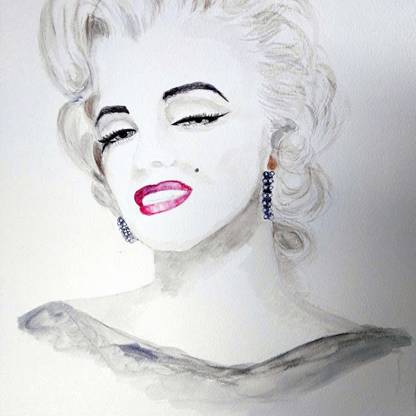 Marilyn Soft Sensual Water Colour Portrait