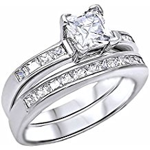 1000 Jewels Women's Adina: 2.25Ct Princess Cut Ice On Fire CZ Channel Set 2 Pc Wedding Ring Set 925 Silver, 3227