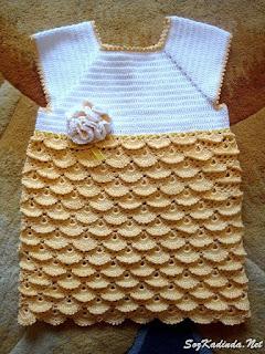 tığ işi bebek elbisesi örgü modelleri anlatımlı