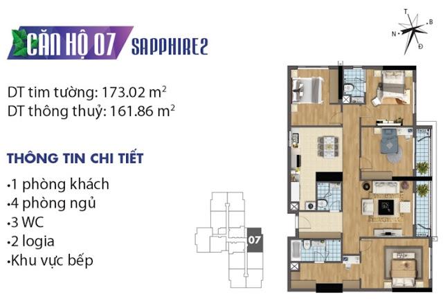 Thiết kế căn hộ số 7 tòa Sapphire 2