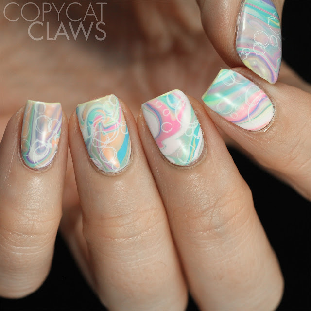Bath bomb-inspired nail art