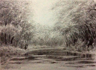 original charcoal sketching of landscape from Bharatpur bird sanctuary by Manju Panchal
