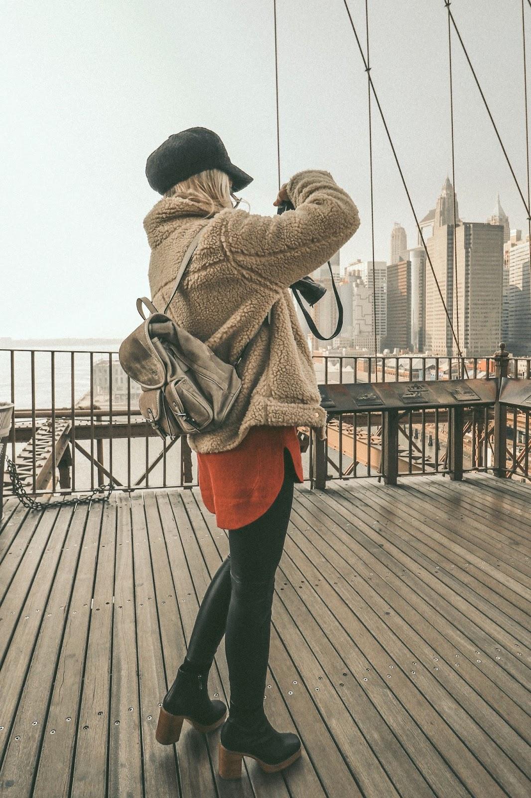 Brooklyn Bridge winter outfit salty blonde