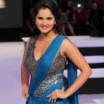 Sania Mirza Ramp Walk Pics In Blue Dress