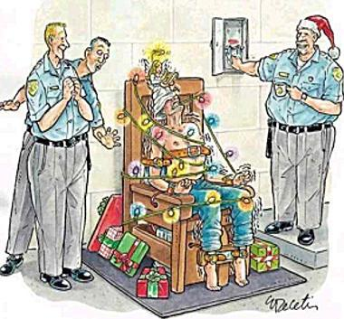 Christmas electric chair cartoon joke picture