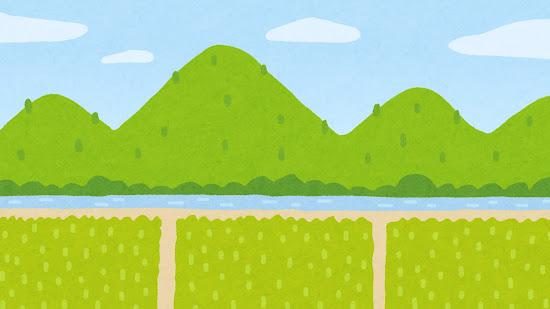 山と川と田んぼのイラスト(背景素材)