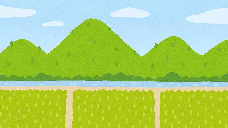 山と川と田んぼのイラスト 背景素材 かわいいフリー素材集 いらすとや