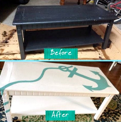 DIY Painted Anchor Coffee Table