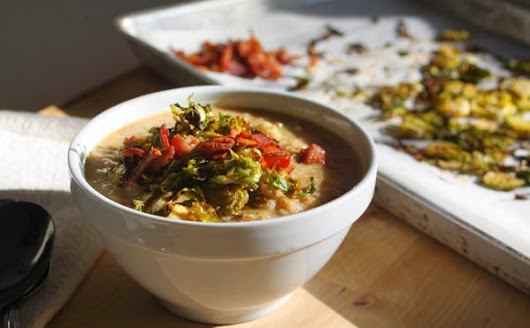 Winter Vegetable Chowder with Crispy Brussel Sprouts and Bacon