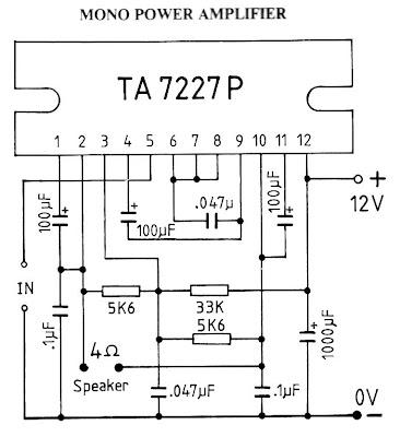 schematics: 15W mono car amplifier using TA7227P