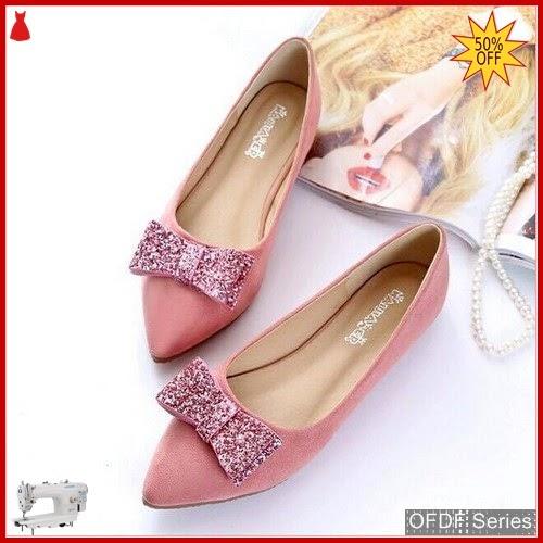 OFDF279 Sepatu Flat Cantik Velvet Suede Glitter BMGShop