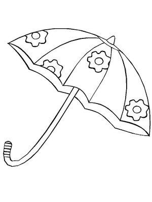 Tranh tô màu cái ô trang trí bông hoa