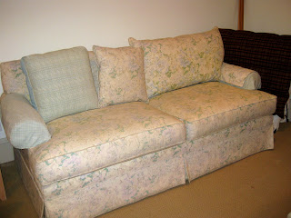 Drop Cloth Couch Chair And Ottoman With French Welt
