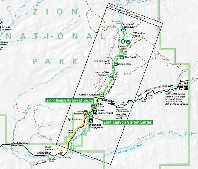 錫安國家公園, Zion National Park, map, 地圖