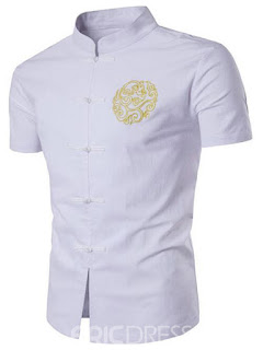Ericdress Plain Short Sleeve Embroidery Men's Shirt