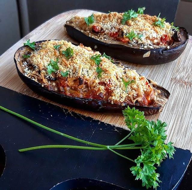 Aubergines healthy farcies à la grecque au four Charlotte and cooking