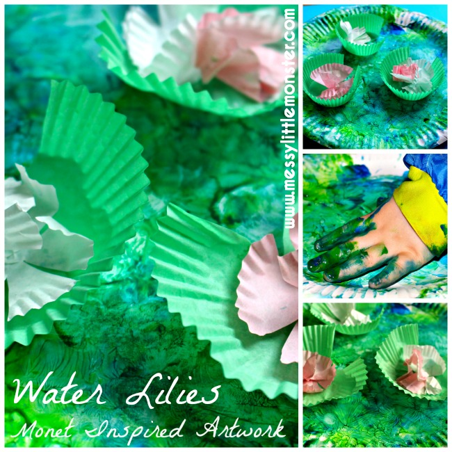 Claude Monet inspired water lilies art for kids.  Exploring famous artists for toddlers and preschoolers.