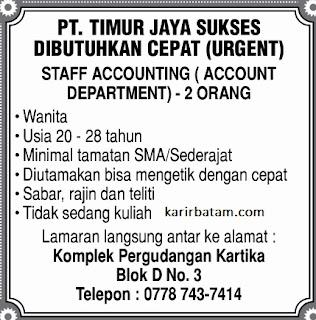 Lowongan Kerja PT. Timur Jaya Sukses
