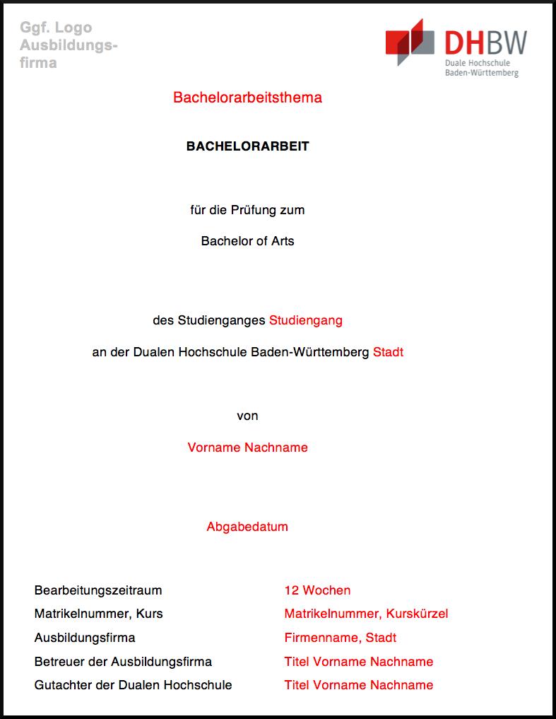 Das Deckblatt Der Bachelorarbeit Akademische Arbeit