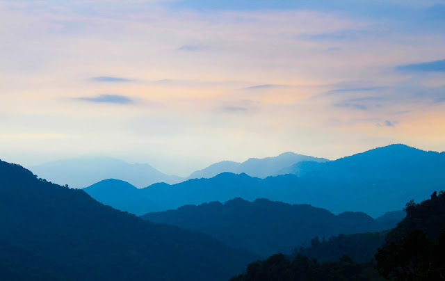 Hills of Mon town in Nagaland at daybreak