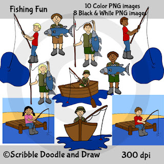 Clip art images of boys and girls fishing in boats and on docks and holding fish