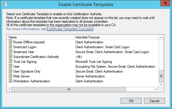 eye tee: Certificate Templates not appearing in Windows