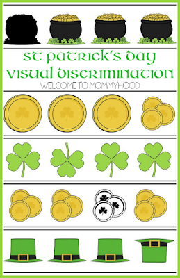 FREE St Patrick's Day Visual Discrimination printables by Welcome to Mommyhood #montessori, #preschool, #stpatricksday, #visualdiscrimination
