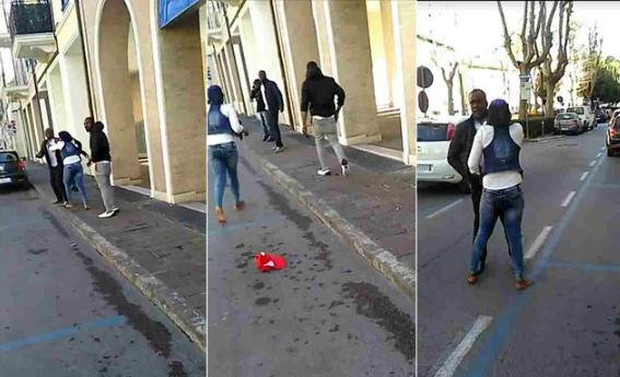 nigerian lady beating boyfriend streets italy