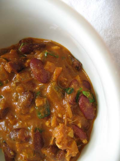 Kidney Beans in a Slowly Simmered Tomato Sauce with Shredded Paneer (Rajma)