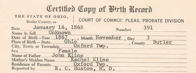 Probably birth record of Mary Elizabeth Klein, born 3 November 1867 in Oxford Twp., Butler County, Ohio.