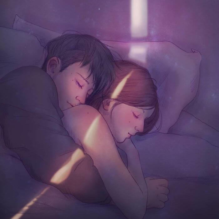 22 Beautiful Illustrations That Prove The Magic Of Love - Sleeping In Your Arms