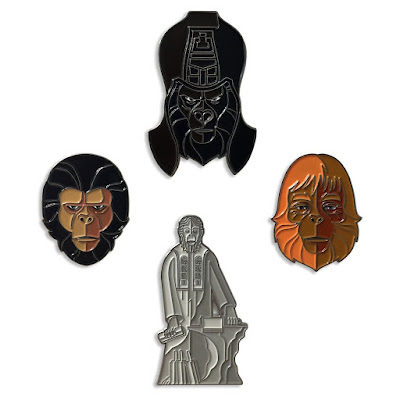 Planet of the Apes Portrait Enamel Pins by Tom Whalen & Mondo - Dr. Zaius, Ursus, Cornelius & The Lawgiver Statue
