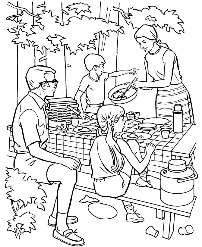 Family People And Jobs Coloring Photograph Picture Camping Coloring Pages Books