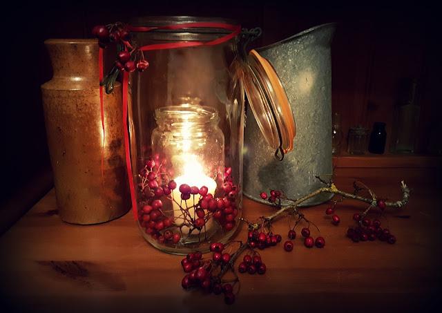 A seasonal candle decoration