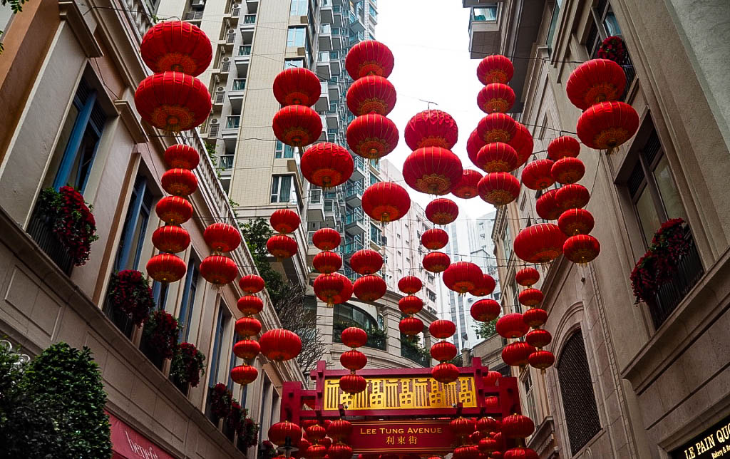 Chinese lanterns on Lee Tung Avenue, Hong Kong
