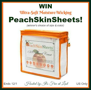 Enter the Ultra-Soft, Moisture-Wicking PeachSkinSheets Giveaway. Ends 12/1
