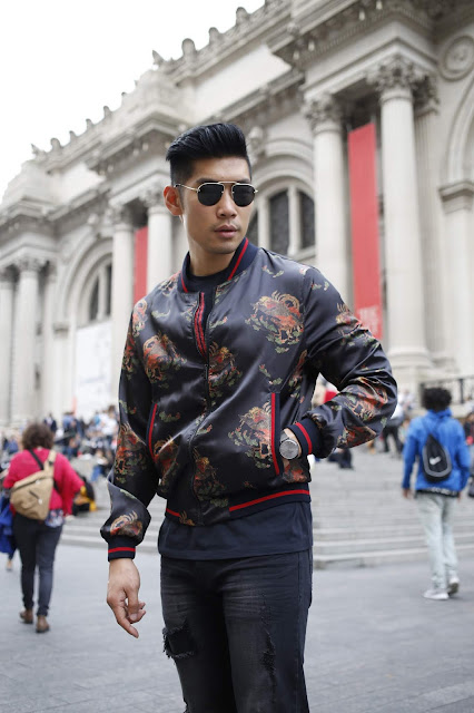 Leo Chan wearing Dragon Bomber Jacket for Fall