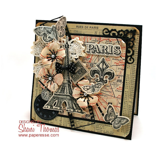 Sizzix French Flight die & stamp set with blend of vintage and new papers, by Paperesse.
