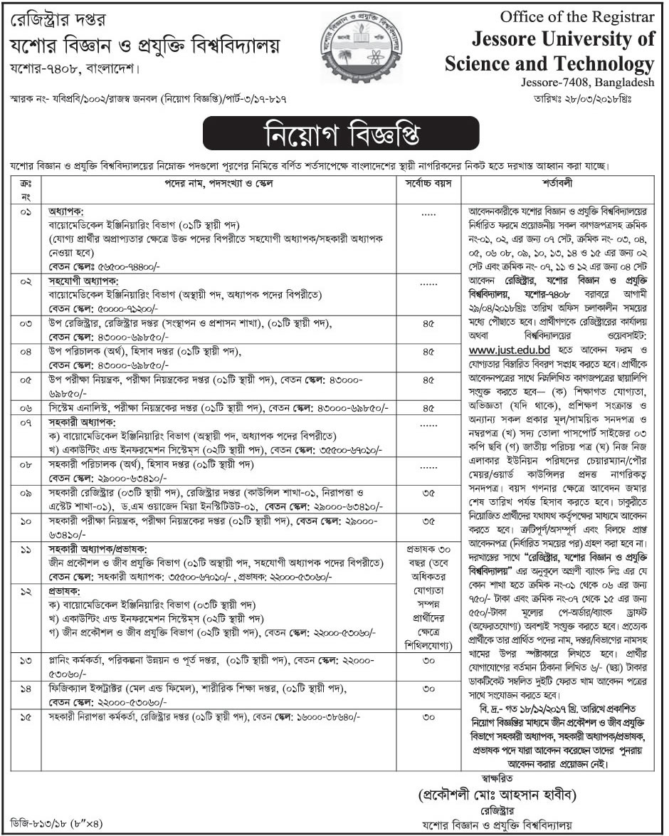 JUST Professor, Assistant Professor and Lecturer Job Circular 2018