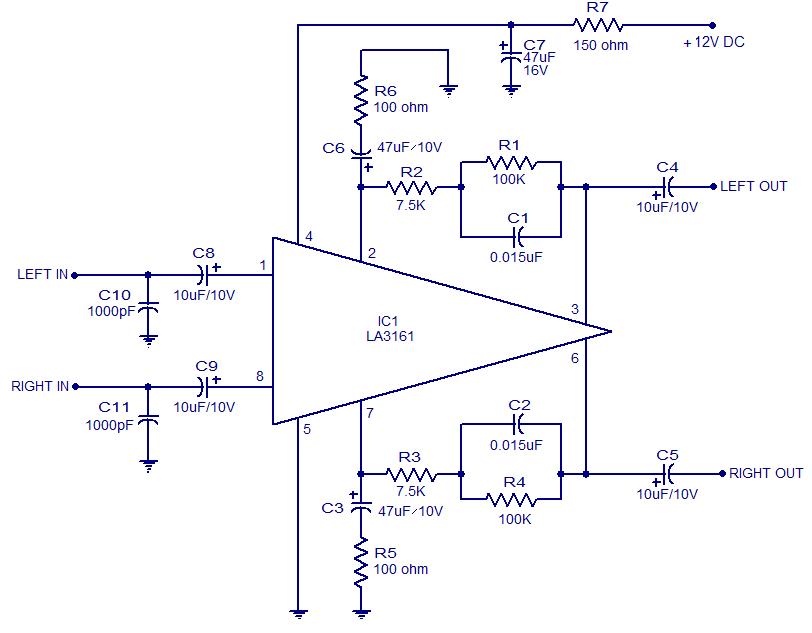 LA3161 Stereo Preamplifier Circuit | audio wiring diagram