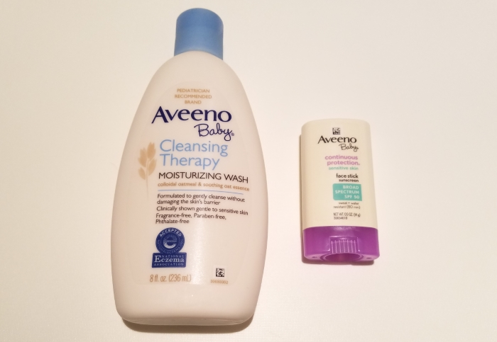 Aveeno Baby Cleansing Therapy Moisturizing Wash and Aveeno Baby Face Stick Sunscreen Broad Spectrum SPF 50