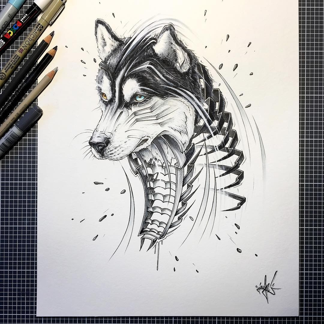 05-Husky-Dog-JAYN-ABS-Crew-Slice-Animal-Portraits-Stylised-Looks-www-designstack-co