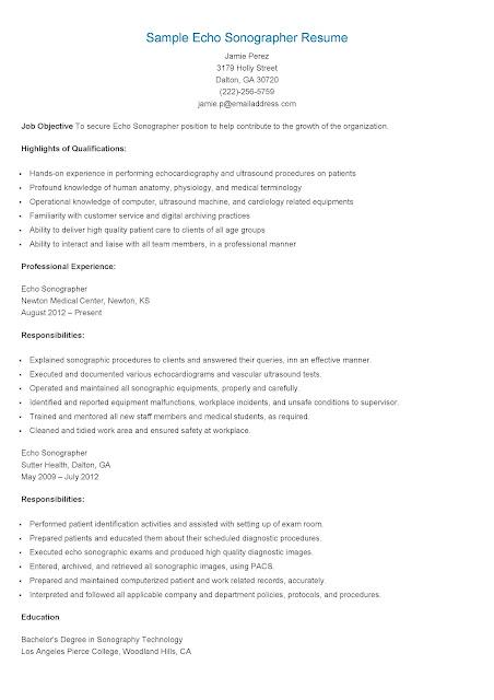 resume samples  sample echo sonographer resume