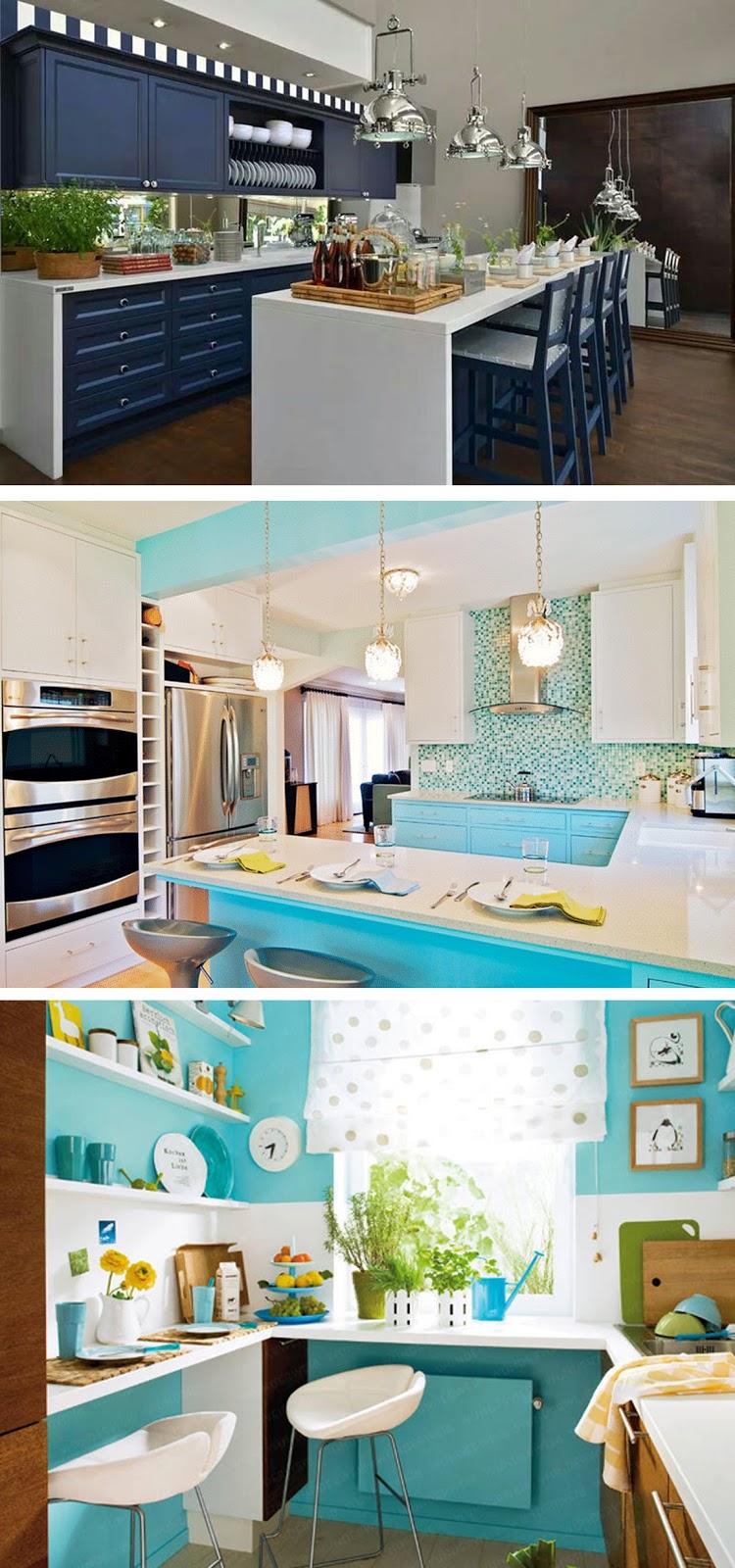 decoração cozinha azul