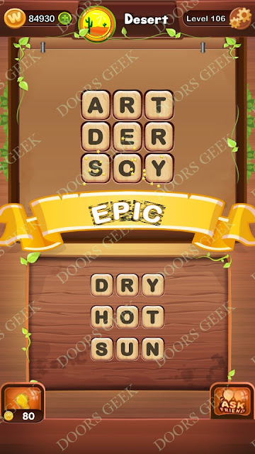 Word Bright Level 106 Answers, Cheats, Solutions, Walkthrough for android, iphone, ipad and ipod