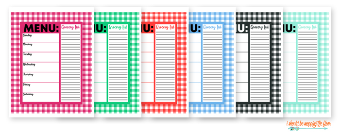 Menu and Grocery List Printables