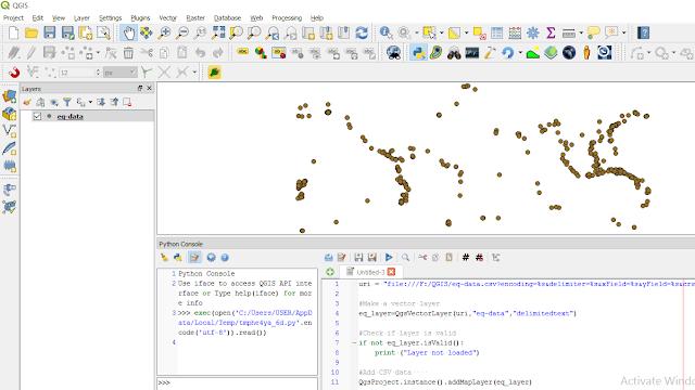 Earthquake csv data added with python