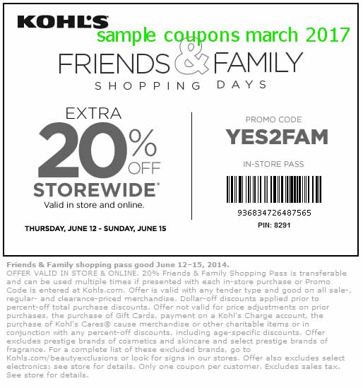Kohls instore coupons march 2018